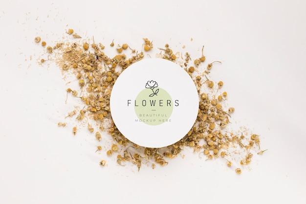 Bovenaanzicht bloemen mock-up concept