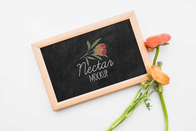 Bovenaanzicht bloemen op blackboard
