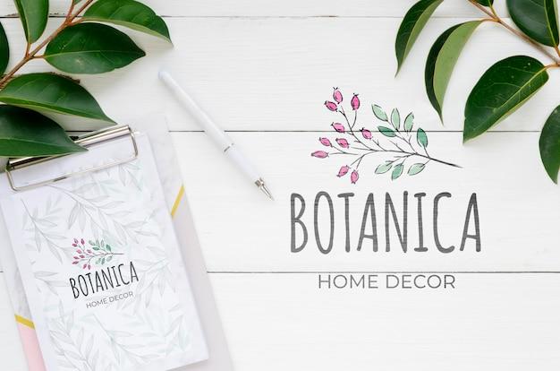 Bovenaanzicht botanisch huisdecor met mock-up