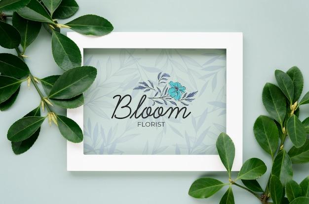 Bovenaanzicht botanische bladeren met frame concept