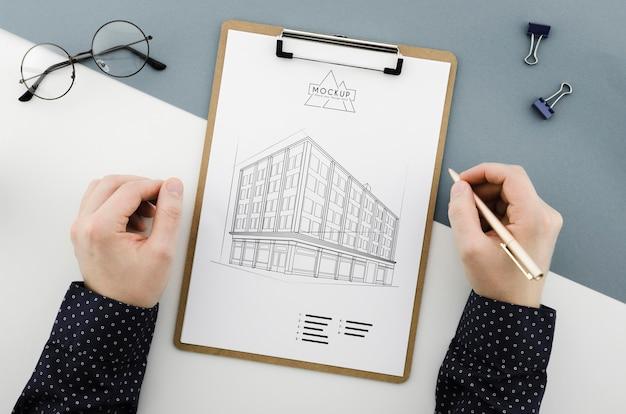 Bovenaanzicht brillen met architectuurontwerp