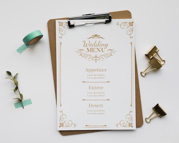 Bovenaanzicht bruiloft assortiment