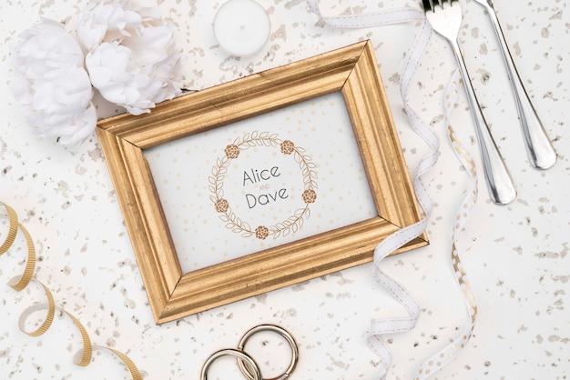 Bovenaanzicht bruiloft bestek
