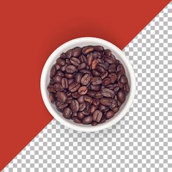 Bovenaanzicht bruine koffiebonen geroosterd geïsoleerd op witte kom.
