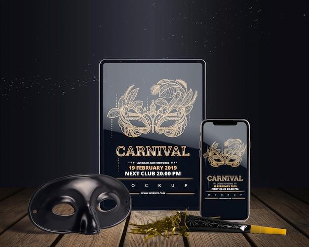 Bovenaanzicht carnaval mockup met bewerkbare objecten