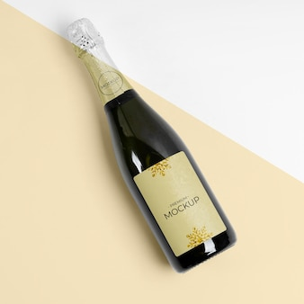 Bovenaanzicht champagne mock-up