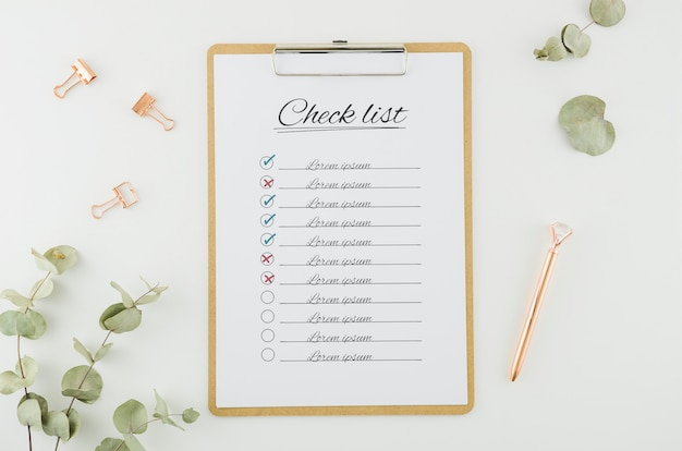 Bovenaanzicht checklist met mock-up concept