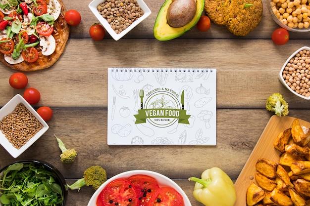Bovenaanzicht circulaire frame met gezond voedsel