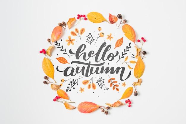Bovenaanzicht circulaire herfst frame met bladeren