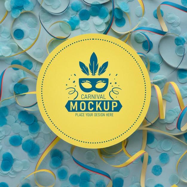 Bovenaanzicht cirkel mock-up met confetti