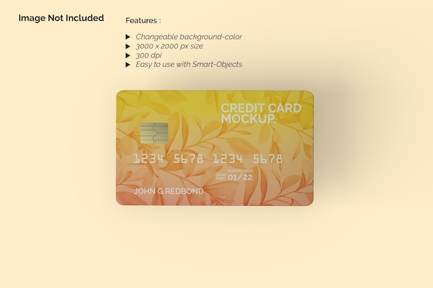 Bovenaanzicht creditcardmodel