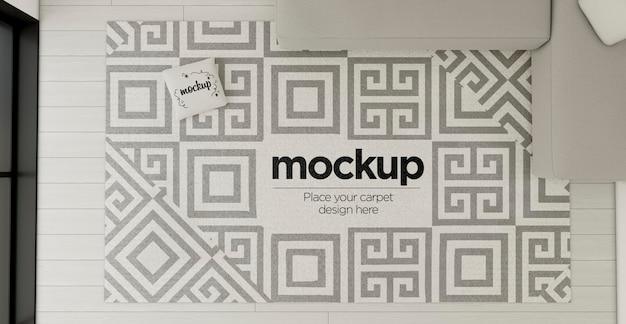 Bovenaanzicht decoratief arrangement met tapijt mock-up
