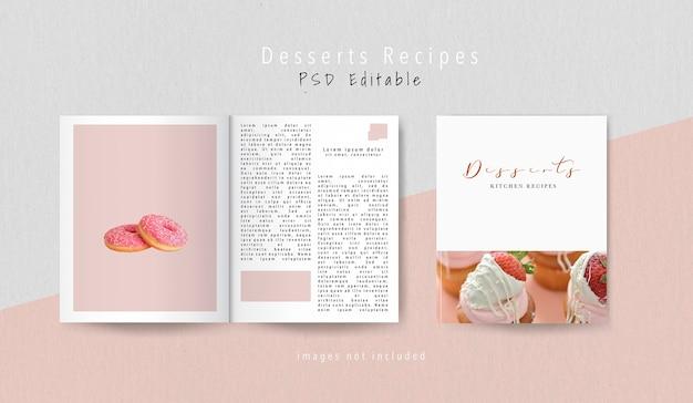 Bovenaanzicht dessert redactioneel tijdschrift