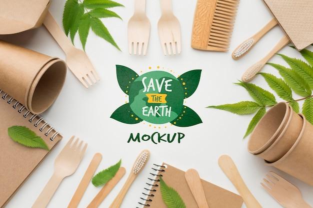 Bovenaanzicht eco-papieren objecten