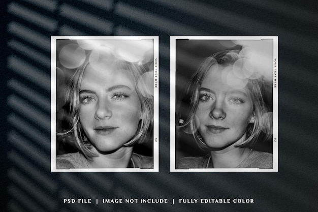 Bovenaanzicht eenvoudig minimalistisch moodboard foto polaroid mockup