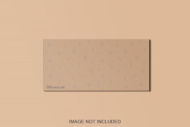 Bovenaanzicht envelop mockup ontwerp geïsoleerd