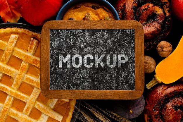 Bovenaanzicht eten met frame mock-up
