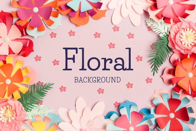 Bovenaanzicht floral achtergrondconcept