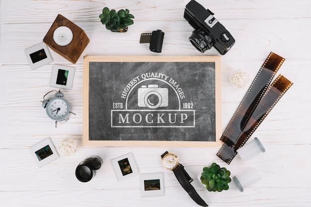 Bovenaanzicht fotografie concept arrangement