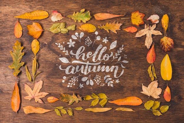 Bovenaanzicht frame met herfstbladeren
