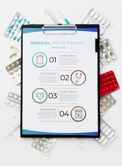 Bovenaanzicht geneeskunde op witte achtergrond