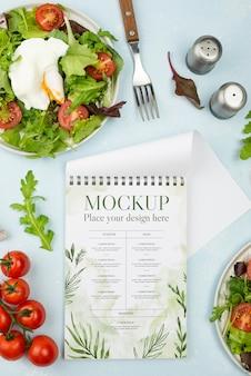 Bovenaanzicht gezonde voeding arrangement