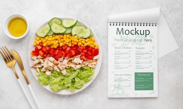 Bovenaanzicht gezonde voeding mock-up
