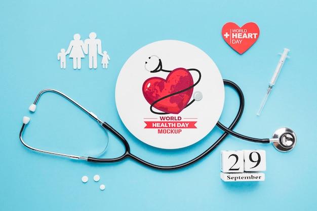 Bovenaanzicht gezondheidsdag mock-up