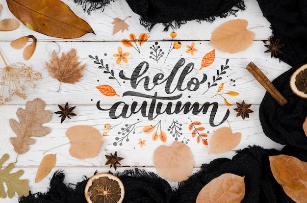 Bovenaanzicht hallo herfst omringd door bladeren