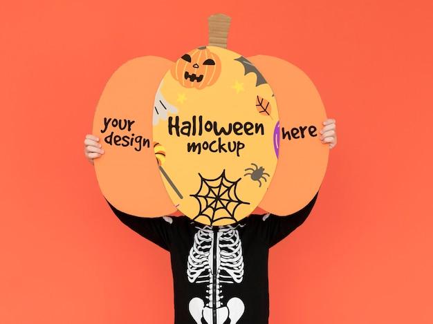Bovenaanzicht halloween mock-up met tekening