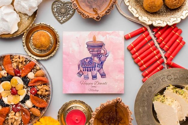 Bovenaanzicht happy diwali festival mock-up met heerlijk eten