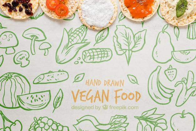 Bovenaanzicht heerlijk veganistisch eten concept