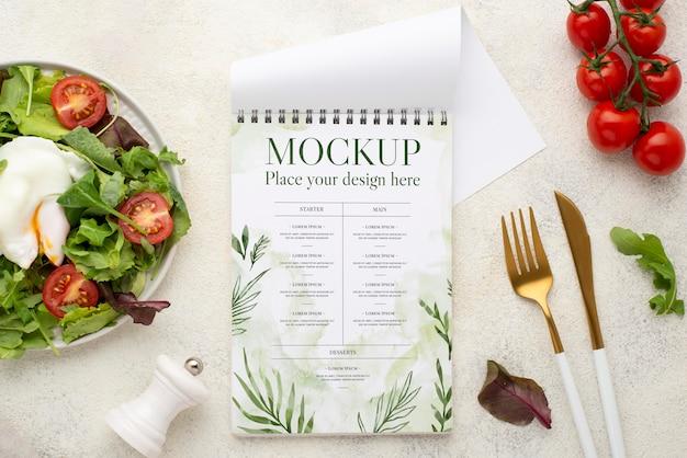 Bovenaanzicht heerlijke gezonde voeding mock-up