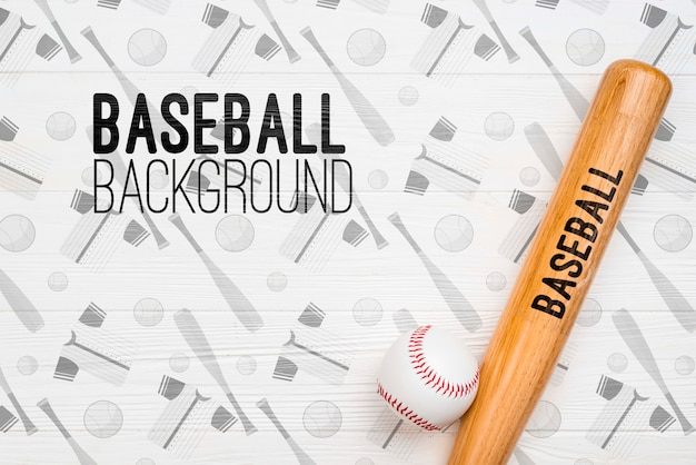 Bovenaanzicht honkbalknuppel en bal