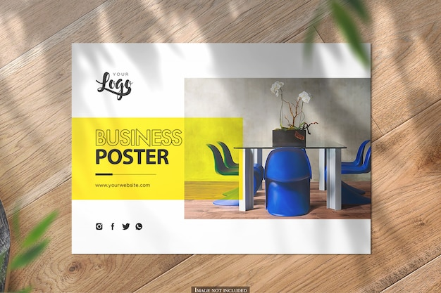 Bovenaanzicht horizontale a5 poster mockup op houten achtergrond