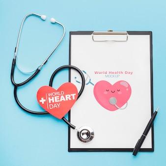 Bovenaanzicht internationale gezondheidsdag stethoscoop