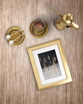 Bovenaanzicht islamitische nieuwe jaar arrangement met gouden items