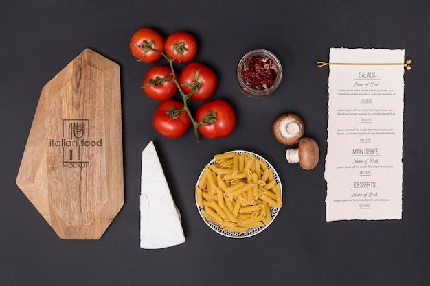 Bovenaanzicht italiaanse pasta ingrediënten