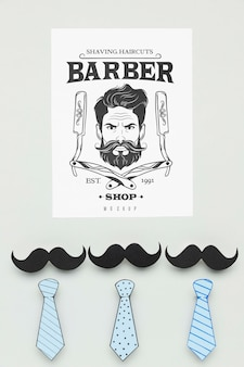 Bovenaanzicht kapper winkel poster met mock-up