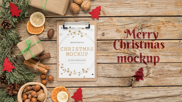 Bovenaanzicht kerstversiering mock-up