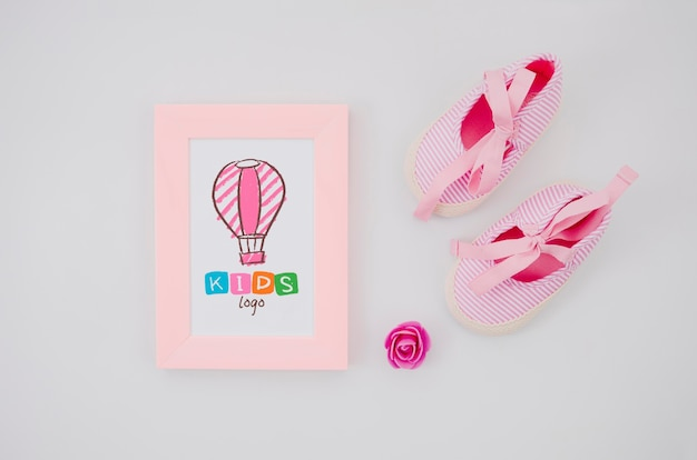 Bovenaanzicht kinderspeelgoed met frame