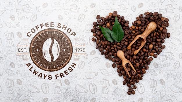 Bovenaanzicht koffiebonen mockup