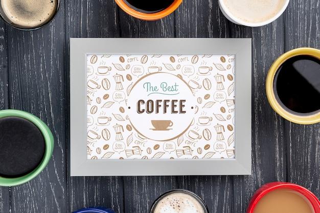 Bovenaanzicht koffieframe mockup