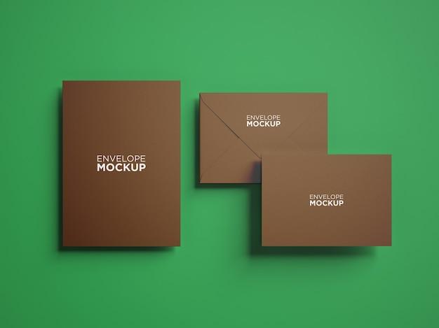 Bovenaanzicht minimalistisch briefpapier mockup geïsoleerd