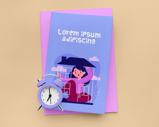 Bovenaanzicht minimalistische boekomslag mock-up
