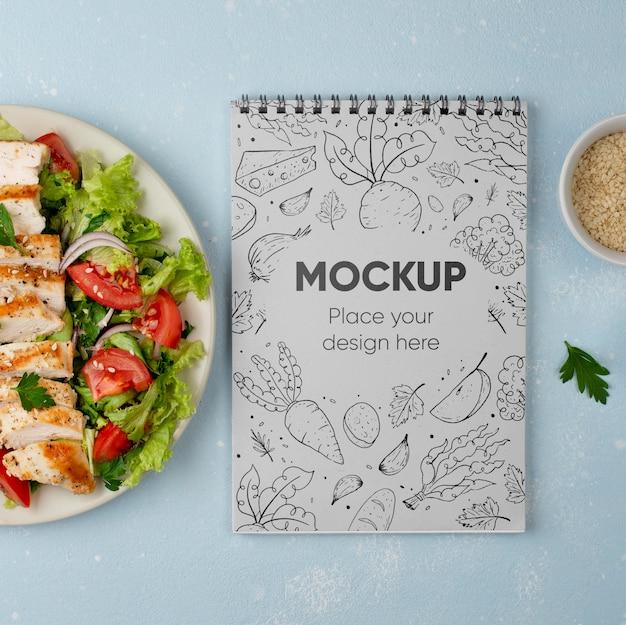Bovenaanzicht mock-up voor gezonde voeding