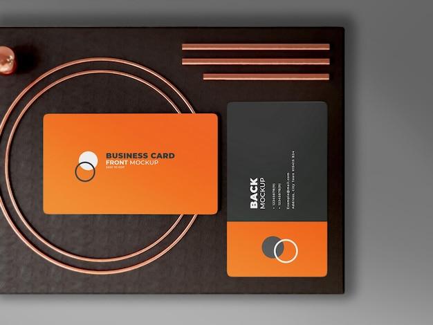 Bovenaanzicht modern visitekaartje mockup