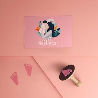 Bovenaanzicht moederdag kaart met mock-up concept