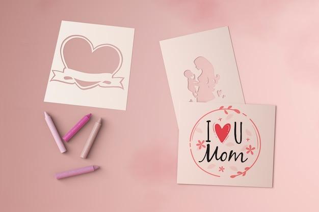 Bovenaanzicht moederdag kaarten met mock-up