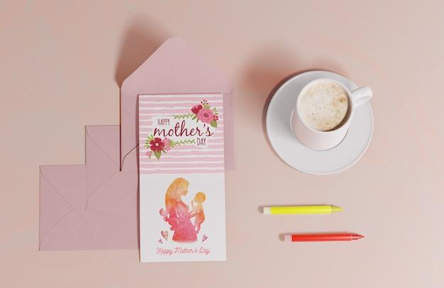 Bovenaanzicht moederdag wenskaart